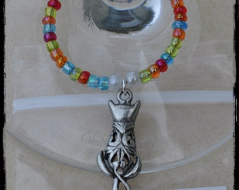 OOAK Artsy Kitty, Wine Glass Stem Charm