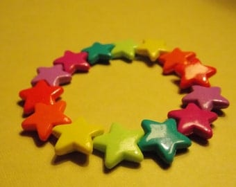 Rainbow Star Beaded Bracelet