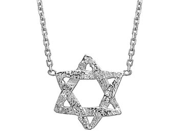 White Gold Star Of David Necklace - Delicate Star Of David - Magen David - White Gold Star Of David - Jewish Star Necklace - Jewish Jewelry