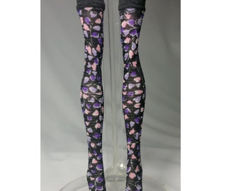 Dolls stockings for Monster high doll  Black and Purple flowers   MH024