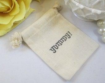 10 Muslin Wedding Favor Bag, Drawstring Cotton Yummy Favor Bag, Cotton Party Favor Bag, Organic Cotton Bridal Shower Gift Bag, Muslin Bags