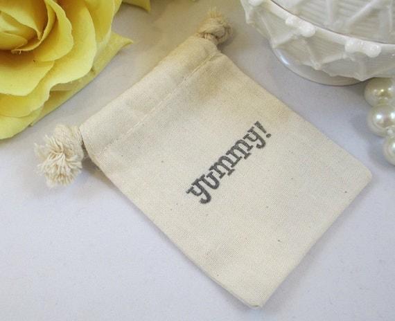 10 Muslin Wedding Favor Bag, Drawstring Cotton Yummy Favor Bag, Cotton ...