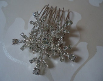 Silver Diamante Crystal simply snowflake bridal hair comb