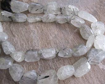 Tourmalated Quartz Beads, Large Faceted Nuggets