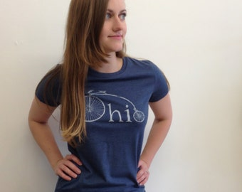 Ohio Bike Womens Tshirt, Screenprinted Tshirt, Heather Blue, Vintage Bike