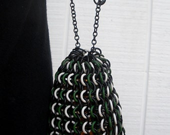 Darunia - Aluminum and Rubber Chainmaille Drawstring Pouch - Dice Bag Coin Purse - Green Black and White