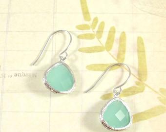 Mint Gem Earrings / Silver + Aqua Gem Earrings, Gemstone Dangle Earrings, Seafoam Mint Green, Bridesmaid Jewelry Earrings Gift