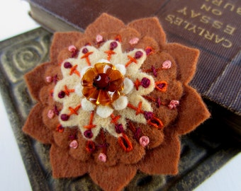 Cinnamon Wool Felt Flower Brooch FREE US SHIPPING