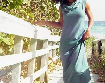 The Seaside Stroll Organic Maxi Dress. Sustainable organic hemp custom made clothing by Grateful Threads Asheville. Handmade. Conscious.