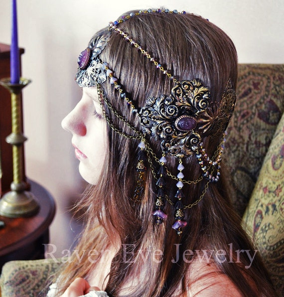 Art Nouveau Headdress Mucha Goddess Vintage Brass And Glass Raven Eve Jewelry