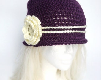 The Love Hat - Dark Purple and Cream Crocheted Cloche with flower clip
