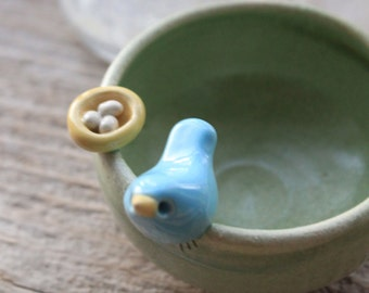 Custom-Made Bird and Nest Mini-Bowl - 3 to 5 Weeks for Delivery