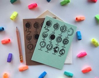 Card: Globes (mint green or kraft brown)