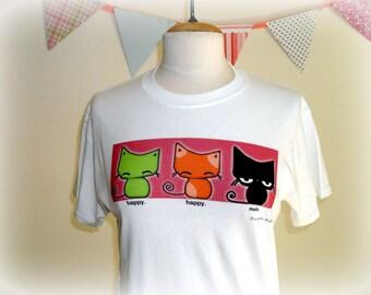 Cat T-shirt Happy Happy Meh Kawaii Kitties Original Illustration Print Tee Shirt - XL only