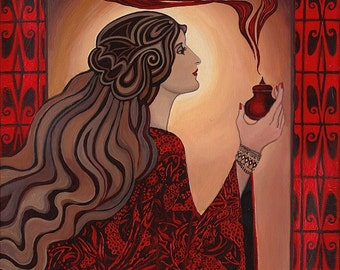Circe and the Dragonsblood 11x14 Fine Art Print Pagan Greek Mythology Art Nouveau Witch Goddess Art