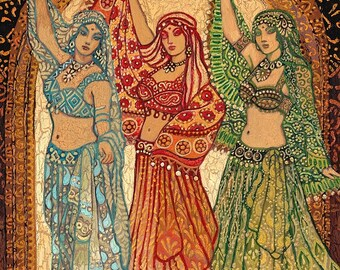 Sisterhood of the Silk Road 5x7 Card Fine Art Print Pagan Mythology Psychedelic Belly Dance Bohemian Gypsy Goddess Art