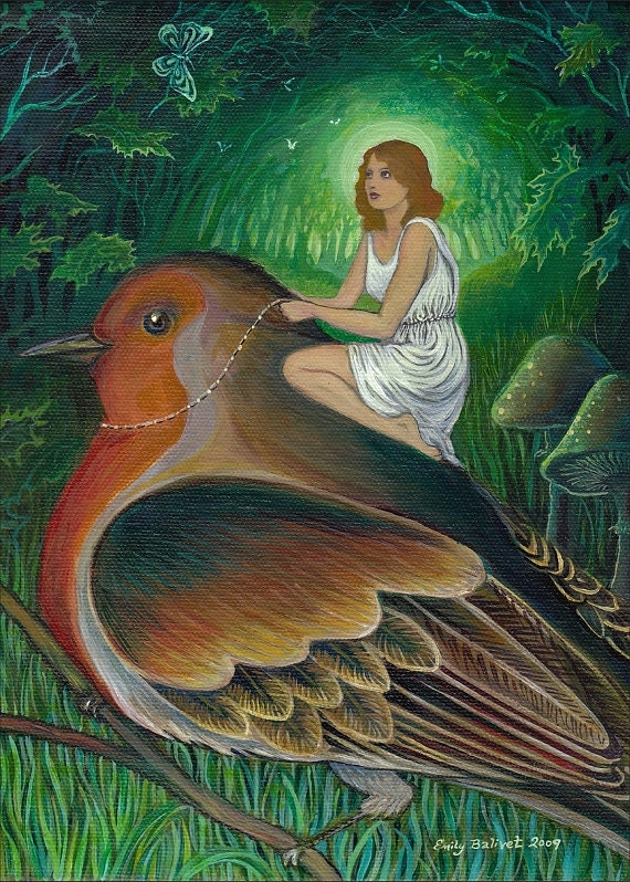 Twilight Flight - Surreal Goddess Art 5x7 Blank Greeting Card