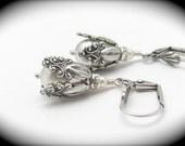 Pearl Earrings, Steampunk Wedding, White Pearl Earrings, Swarovski Crystal, Antiqued Silvertone, Wedding Bridal, Hawaiibeads Jewelry