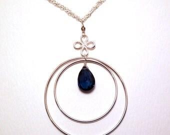 Karaline - London blue topaz and smoky quartz necklace