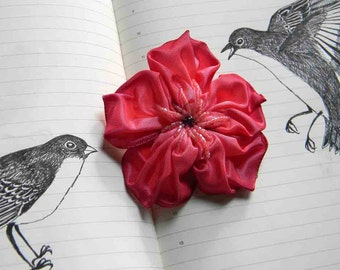 raspberry pink almost red ribbon flower brooch