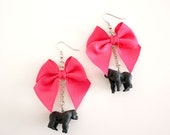 Tiny Gorilla & Pink Bow Earrings
