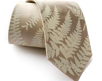 Fern leaf necktie. Botanical print men's silk tie. Ivory-cream screenprint. Your choice of tie fabric colors.