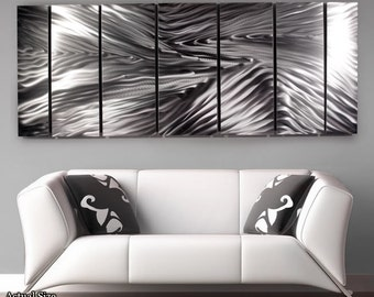 Reflective Silver Contemporary Metal Art - Etched Handmade Modern Metal Wall Sculpture - Large Home Accent - Serengeti by Jon Allen