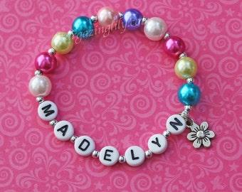 Spring Flower Charm Easter Bright Bold Glass Pearls Little Girl Bracelet Party Favor or Easter Basket Filler Personalized Name Bracelet
