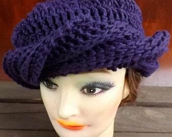 Purple Crochet Hat Sun Hat Womens Hat Trendy,  Crochet Beanie Hat,  Turban Hat,  Purple Hat,  Samantha Summer Beanie Hat Steampunk Hat