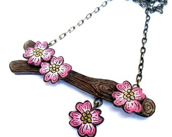 Pink Dogwood Necklace, Tree Branch Necklace, Dogwood Flower Necklace, Garden Wedding, Rustic Wedding Necklace, Spring Jewelry, Gift for Her
