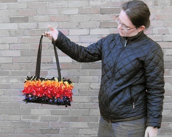 Handbag- shoulder bag - purse - crochet handbag - OOAK purse- rag bag - boho handbag -red, black, orange, purple