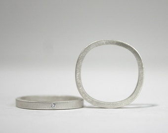 Sterling and Diamond Round Square Ring Set - Matte Finish Silver - Reclaimed, Eco-Friendly Jewelry