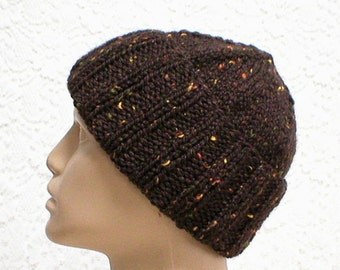Dark brown tweed watch cap, slouchy hat, ribbed brimmed beanie hat, knit toque, ski snowboard, mens womens hat, beanie hat, brown hat, biker