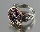 POMEGRANATE garnet bronze and silver ring