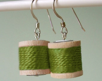 Earrings - Spools of Thread in Moss Green