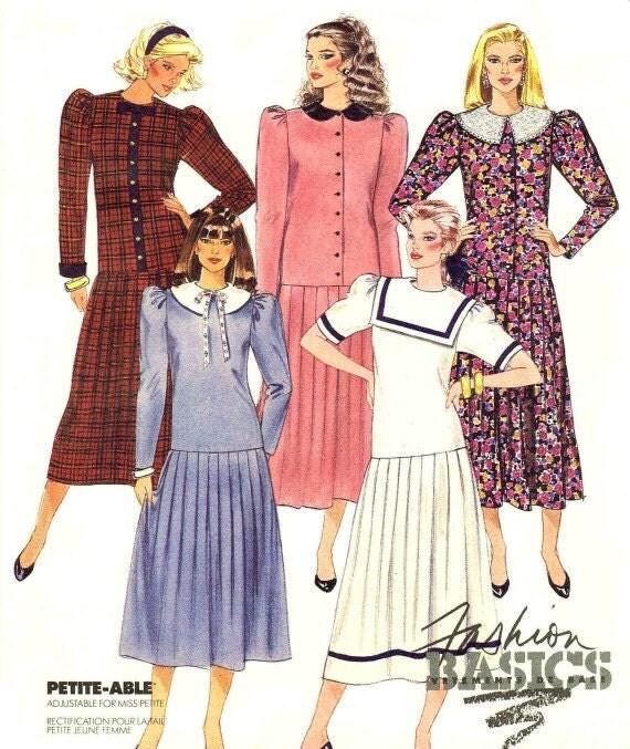 Womens Dress Pattern Dropped Waist Pleated Skirt 1980s McCalls