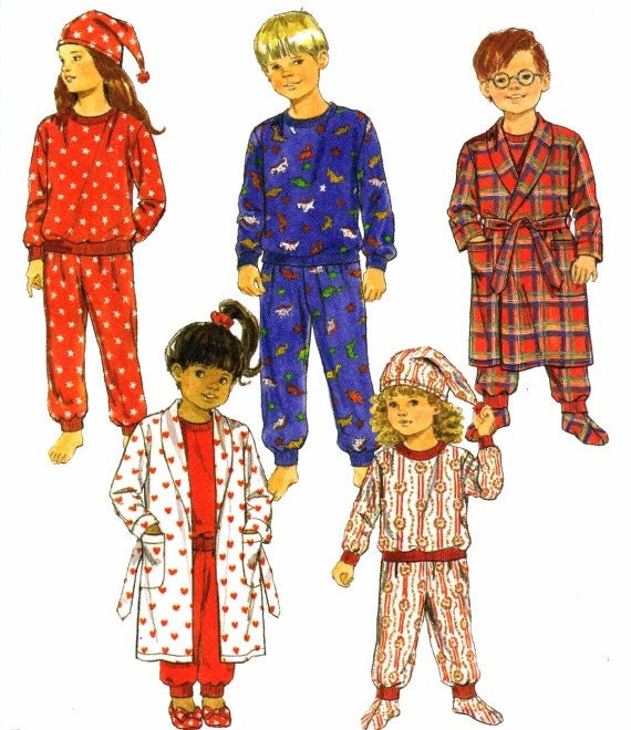 Pajamas Top Pants Robe Belt Hat Booties Girls Boys Butterick 3042 Childrens Sewing Pattern Size 3 - 4 - 5 - 6 UNCUT