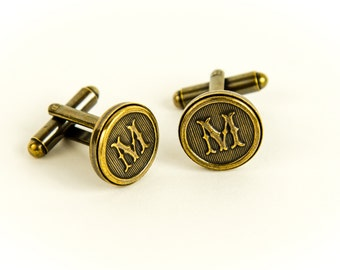 Letter M Cufflinks, Or Choose Any Two Letters - Made to Order - Antiqued Brass