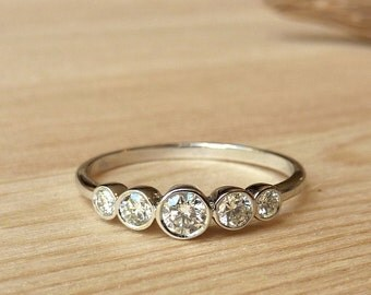 Petite 5 Stone Bezel Set Diamond Band