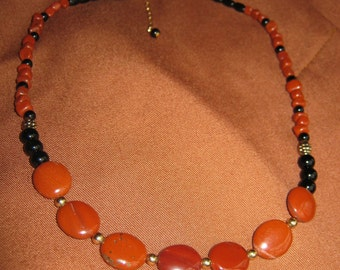 Red Jasper and Onyx Gold Necklace - FREE SHIPPING