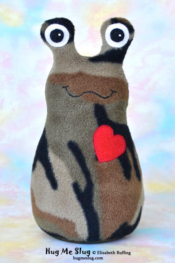 Handmade Camo Slug, Stuffed Animal Plush Doll Art Toy, Hug Me Slug, Personalized Tag, Camouflage, Red Fleece, 9 inch, Ready-made