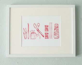 Crafty tools screen print - red - scissors, snippers, pincushion, knitting needles, crochet hook, thread spools and cones