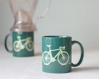 Bike mug - green and yellow - screen printed bicycle coffee cup