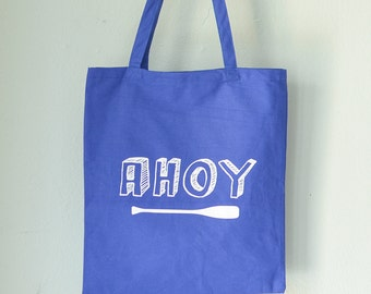 AHOY NAUTICAL TOTE blue screen printed cotton canvas bag