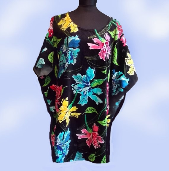 Tropical Flowers Cotton Terry Cloth Caftan Cover Up Oversized Beach and Bath Robe Plus size