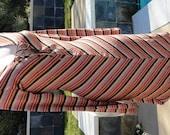 Vintage 70s Chevron Asymetrical V Hemline Striped Corset Style Curve Huggin Body Con Dress sz M