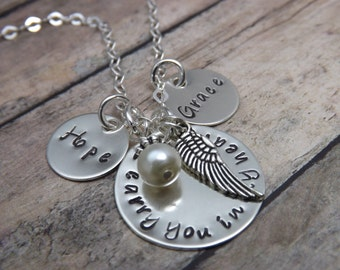 remembrance necklace - personalized necklace-Hand stamped jewelry-personalized jewelry-two disc remembrance necklace-angel wing