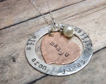 personalized necklace - mommy necklace-Handstamped-personalized-sterling silver necklace- washer--heart-crystal-pearl