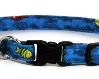 Cat Collar - Blue Fishies - Breakaway Safety Cute Fancy Cat Kitten Collar