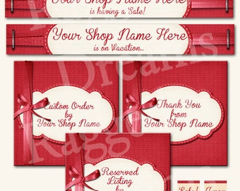 Etsy Banner Set - Premade Etsy Banner - Etsy Shop Banner - SHOP ICON - Shop Profile Photo - Bright Red Bow - Raggedy Dreams Etsy Shop Design